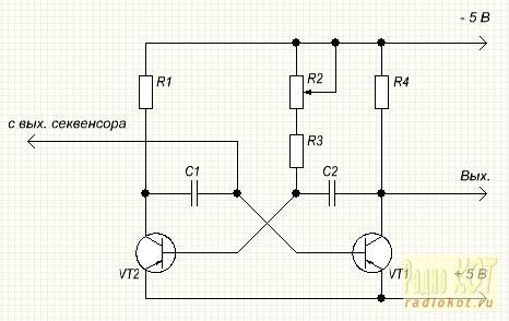 Тон-генератор собран по схеме