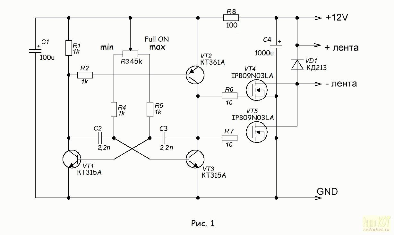 схема драйверов для светодиодной лампы
