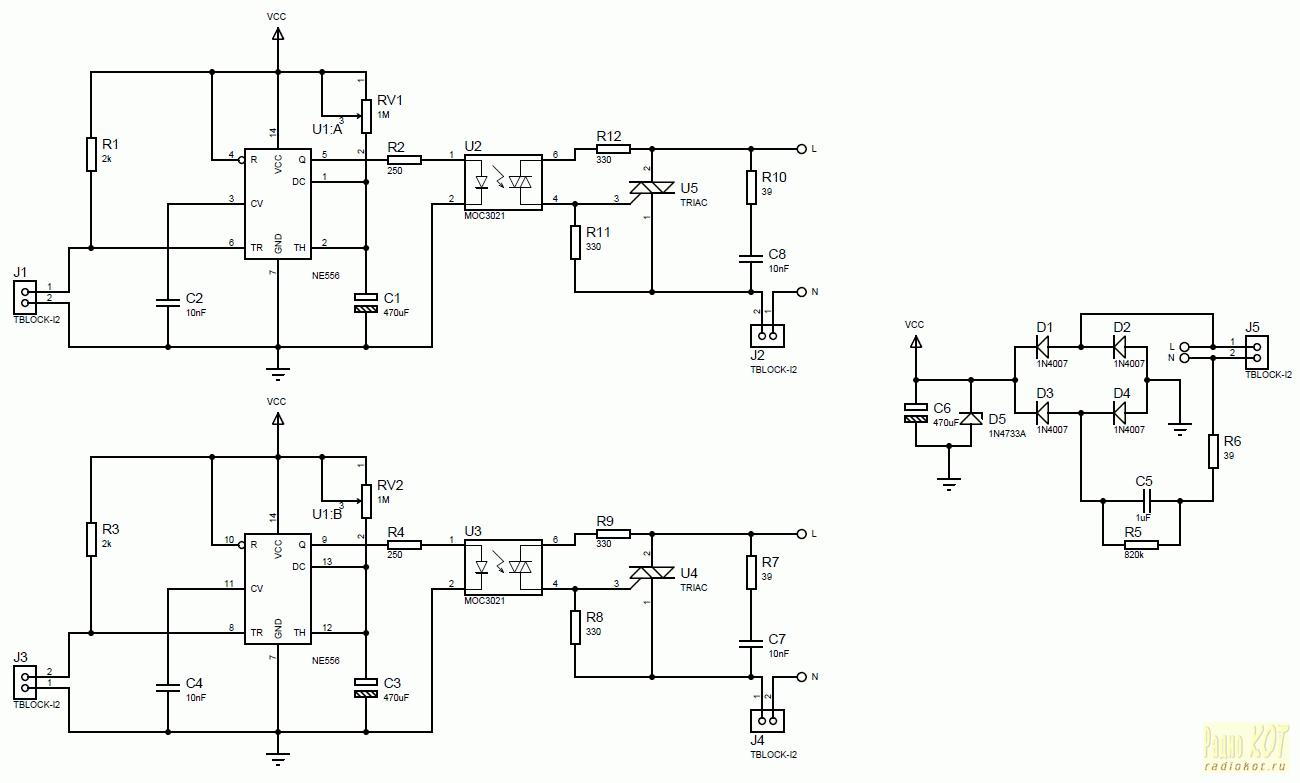 Ne556 схемы включения