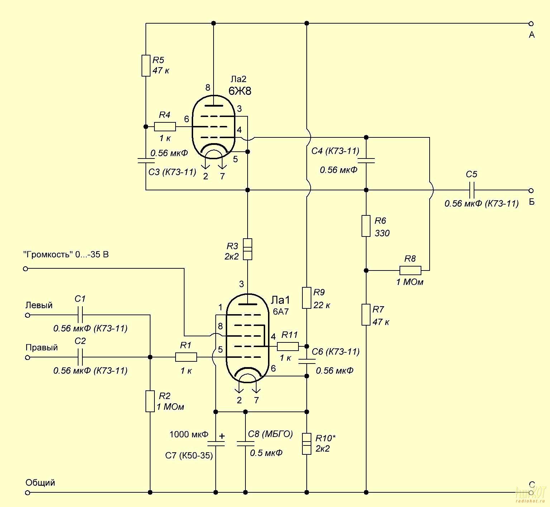 Схема индикатора мощности для усилителя