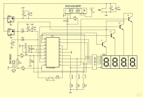Схема радиодатчика и радиозвонка.