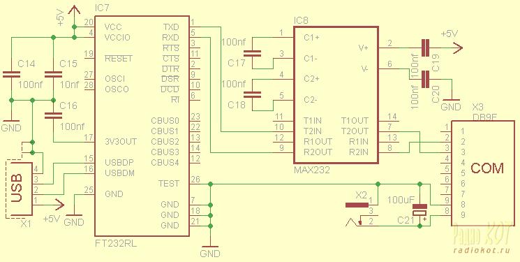 USB-RS232 конвертер. Схема