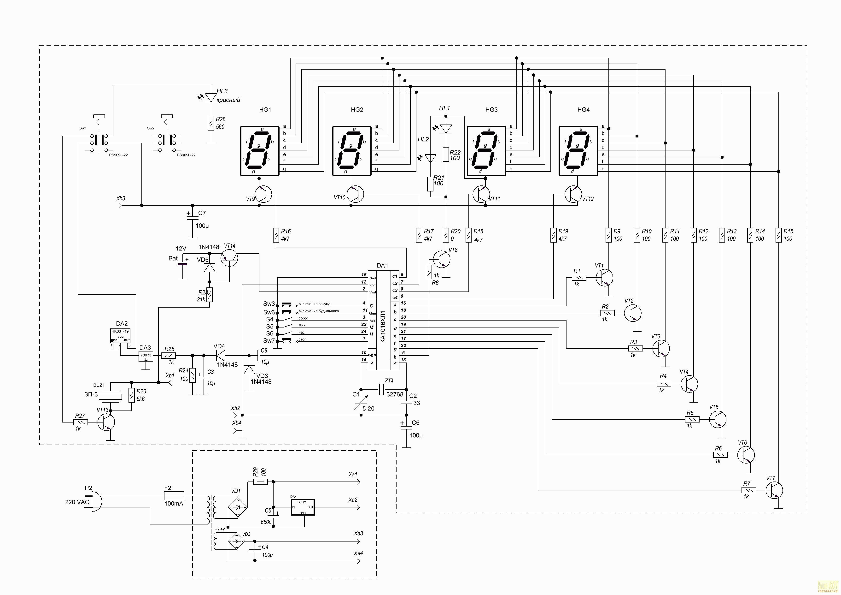 схема электронных часов» на ка1016хл1