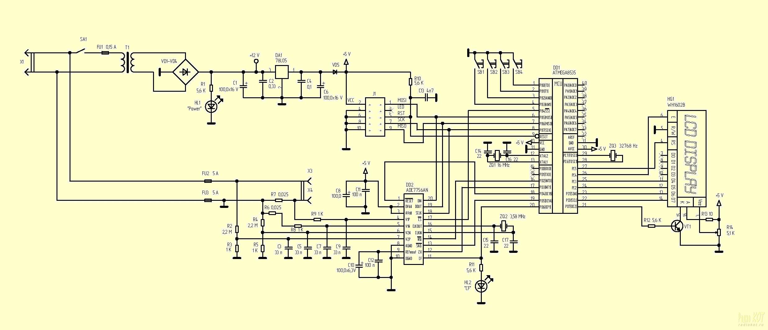 Ваттметр на микроконтроллере схема