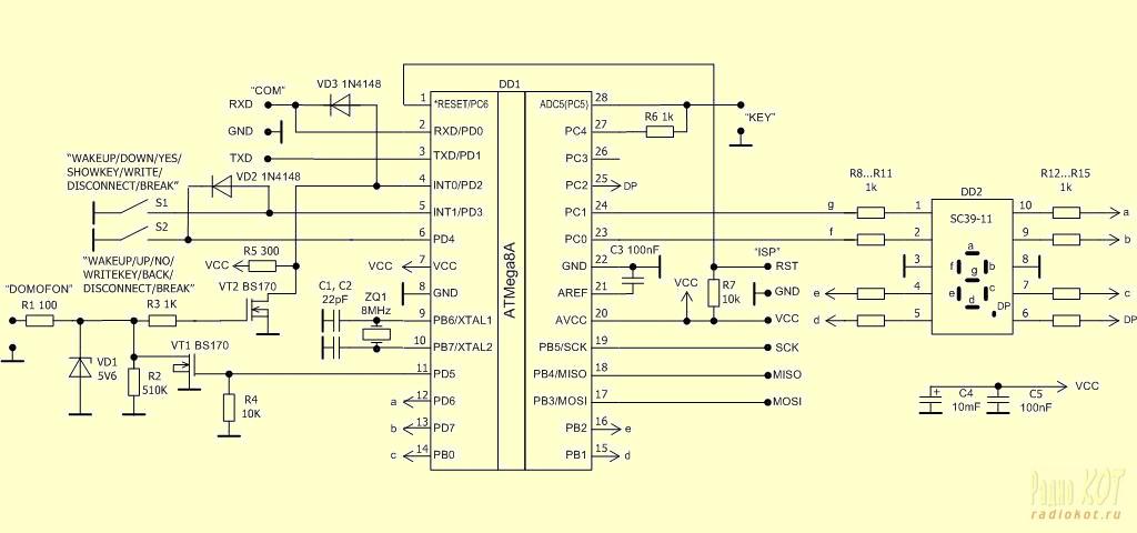 микроконтроллер ATmega8A.