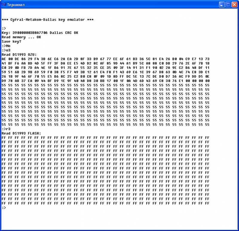 Чтение ОЗУ и флэш ключа DS1993