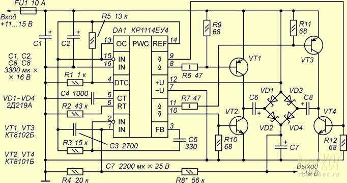 Микросхема включена по схеме