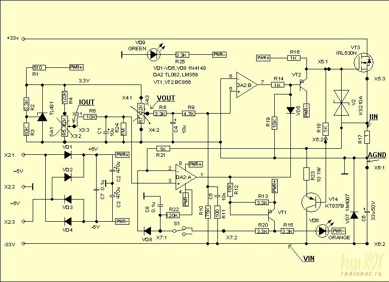 Схема в точности повторяет рассмотренную ранее упрощенную схему.  Опорное напряжение генерируется с помощью TL431 и...