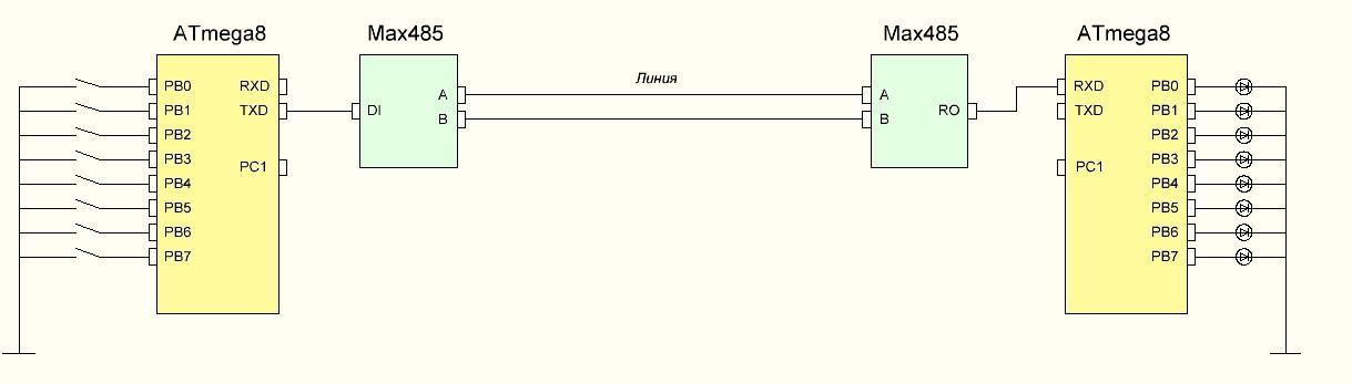Схема микроконтроллер и rs 485
