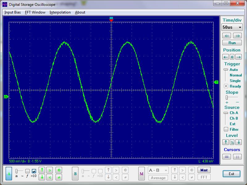Вот осциллограмма сигнала 50МГц на экране самого дешевого китайского РС-осциллографа с максимальной частотой выборки...