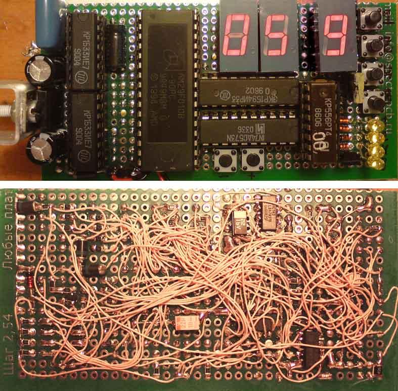 Программатор для РТ4 делал для проекта часов с неонками и К145ИК1901.  Аналогично шкале, без МК, на россыпи.