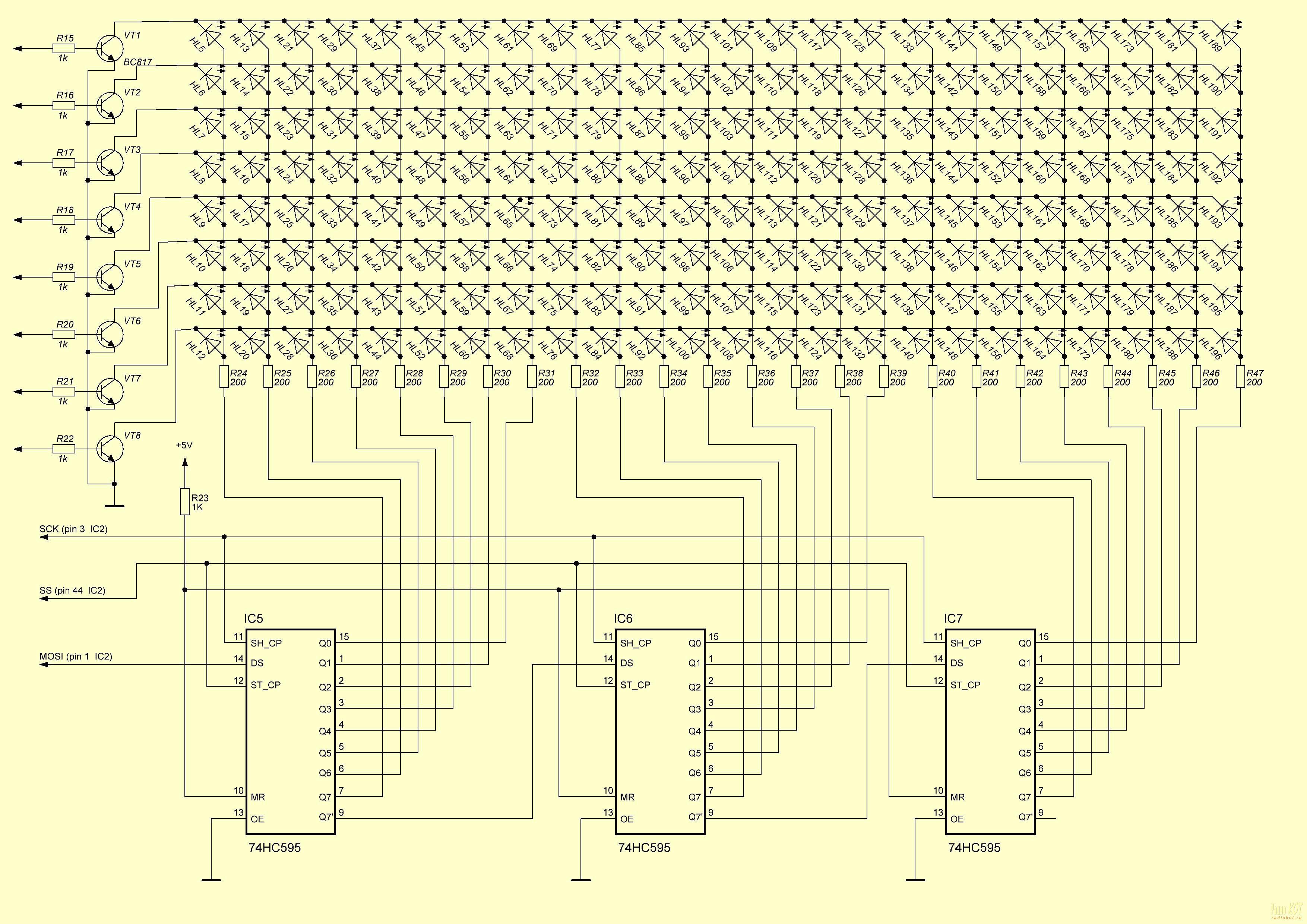часы светодиодах схема