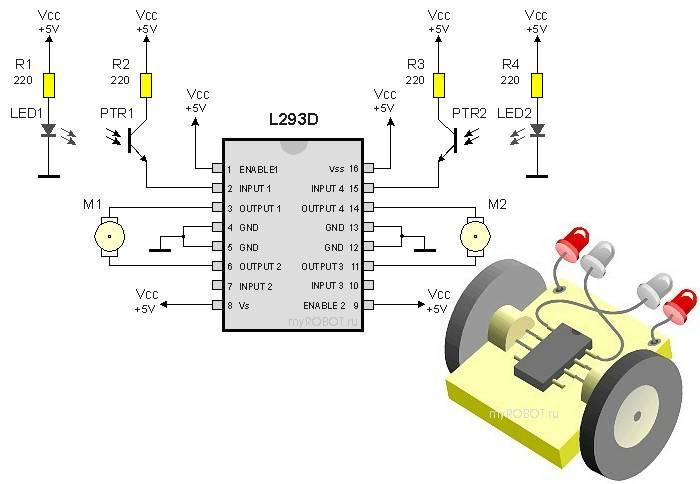 И последняя схема - робот, следующий по чёрной линии.  Секрет прост: свет от светодиодов отражается от ладони и...