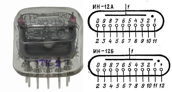 Распиновка и внешний вид ИН-12