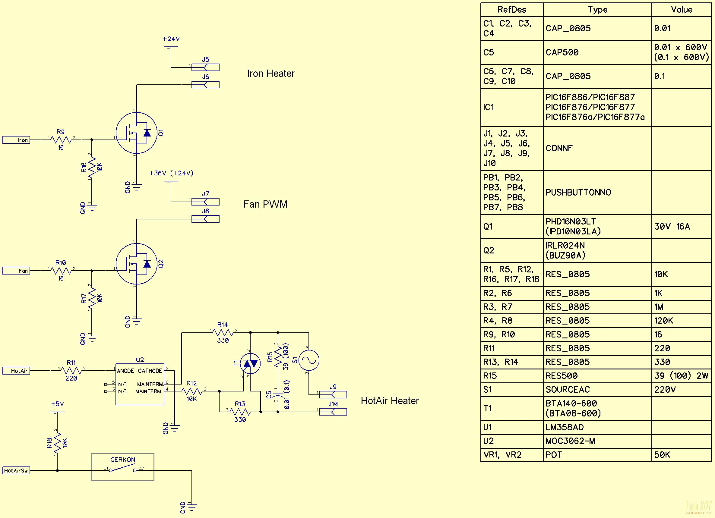 Эл. схема промышленного фена