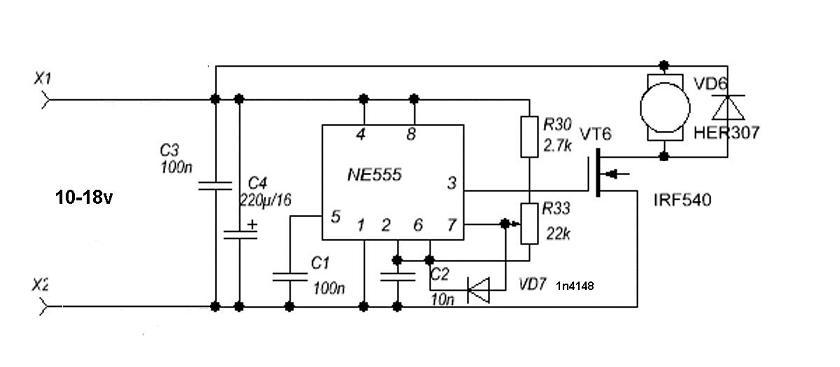 регулятор скорости с реверсом схема.
