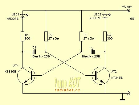 Как правило, эл.схема мультивибратора строится на двух транзисторах, и предназначен он... очень простое...