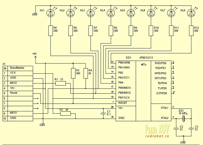 схема на микроконтроллере, в том числе pic16f84 схематаймера, схемы на attiny2313, МИКРОКОНТРОЛЛЕР .К нему был.